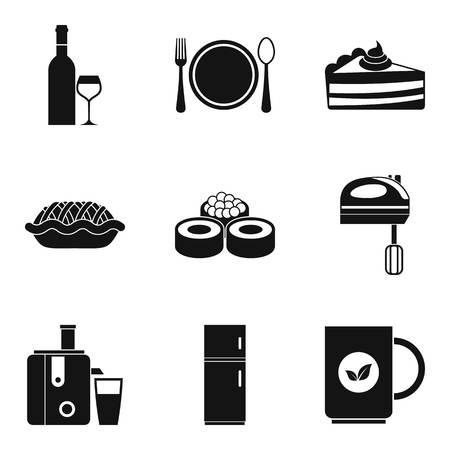 Establishment icons set Illustration