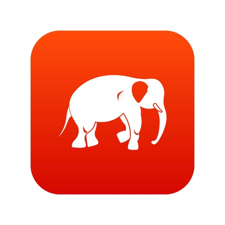 Elephant icon in digital red background. Ilustração