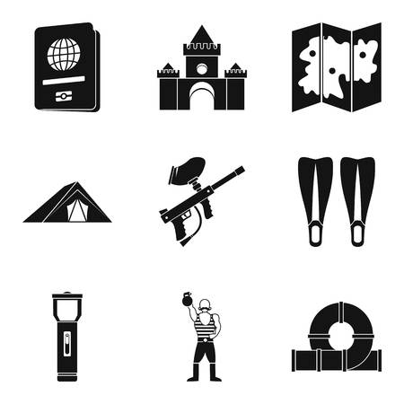 Family trip icons set, simple style, black and white illustration.