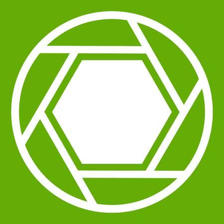Hexagon shape silhoutte, linear illustration, shutter graphic design on green background.