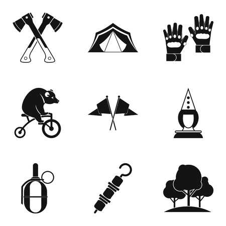 Family vacation icons set, simple style, black and white illustration.