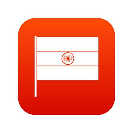 Indian flag icon digital red background. Illustration