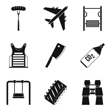 Family leisure icons set, simple style illustration.