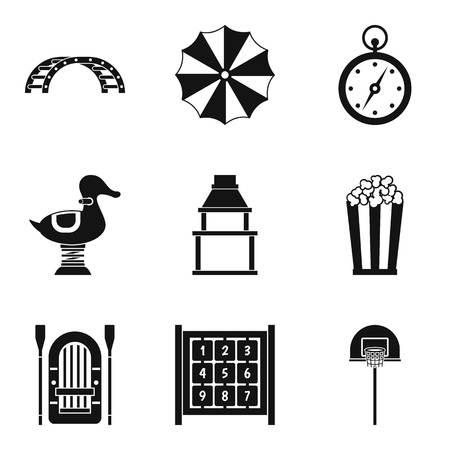 Family celebration icons set, simple style