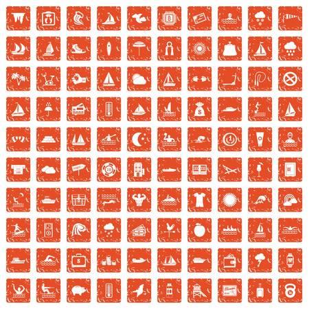 Water sport icons set grunge orange Illustration