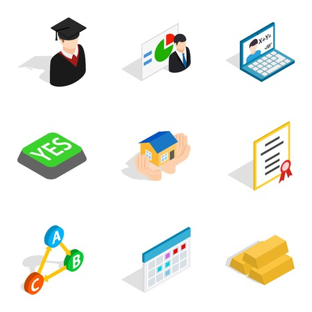 Right decision icons set, isometric style
