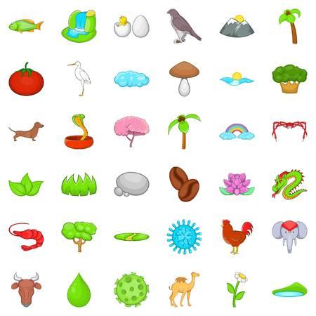 Ordinary life icons set, cartoon style Illustration