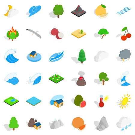 Forestation icons set, isometric style