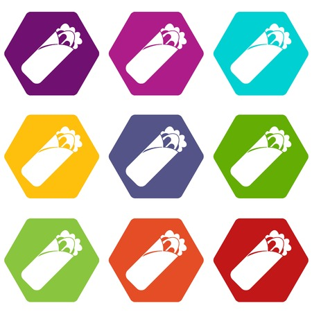 Shawarma sandwich icon set color hexahedron