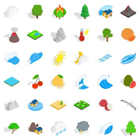 Afforestation icons set, isometric style Ilustrace