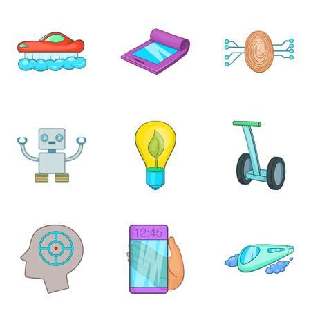 Cyborg icons set, cartoon style Illustration