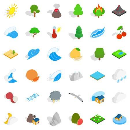 Forest plantation icons set, isometric style