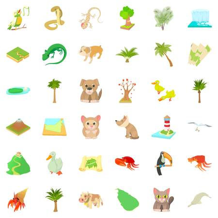 Foliage icons set, cartoon style