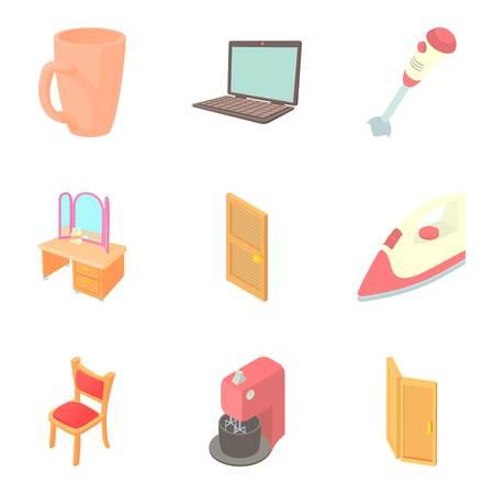 Home decoration icons set