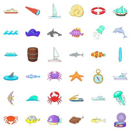 Saltwater icons set Иллюстрация