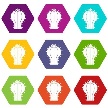 Cactus with flower icon set 矢量图像