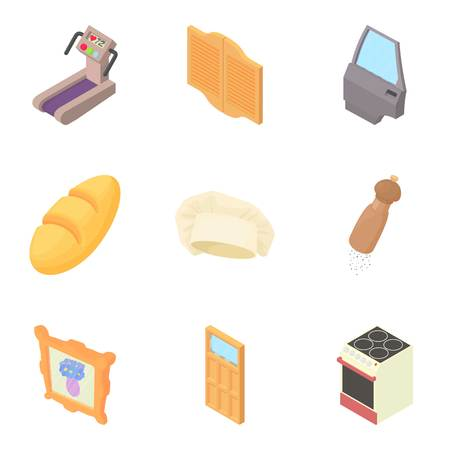 Household items icons set, cartoon style