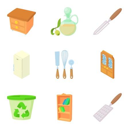 Houseware icons set, cartoon style Ilustrace