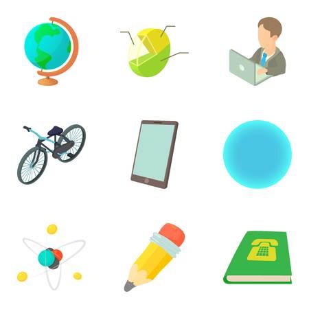 School education icons set, cartoon style