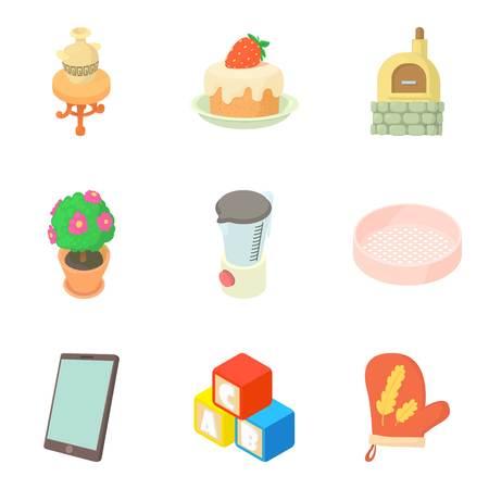Household property icons set, cartoon style Ilustrace