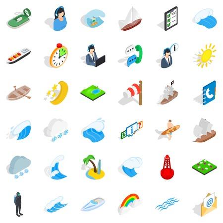 Nautical business icons set, isometric style