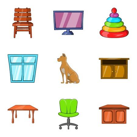 ファミリーハウスのアイコンセット。白い背景に隔離されたウェブのための9ファミリーハウスベクトルアイコンの漫画セット