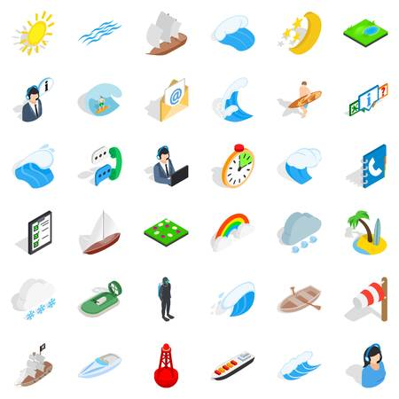 Boat business icons set.