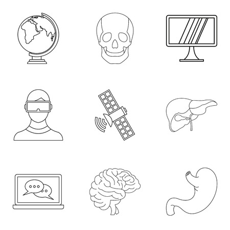 Mental icons set, outline style