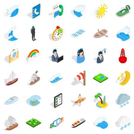 Seaworthy icons set, isometric style Иллюстрация