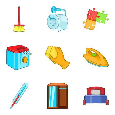 Family home icons set, cartoon style
