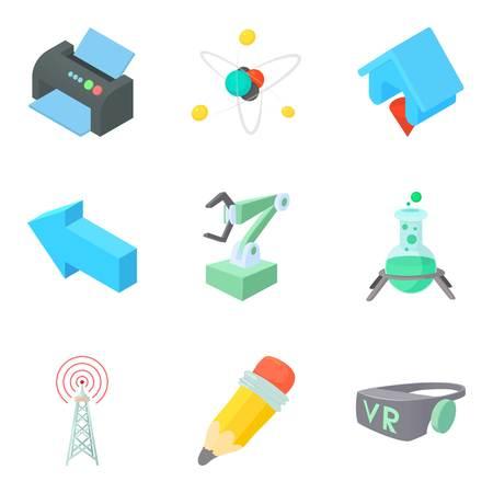 Intellectual icons set, cartoon style