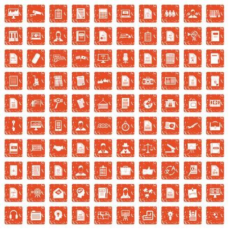 100 work paper icons set grunge orange