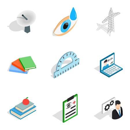 Nerdy icons set, isometric style Illustration