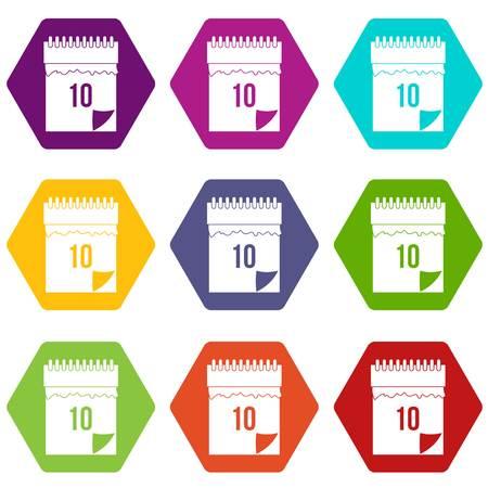 10 date calendar icon set color hexahedron.