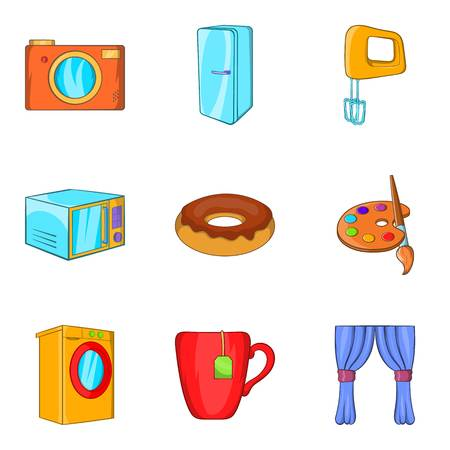 Paternal house icons set, cartoon style.
