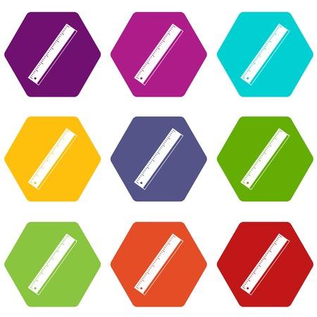 Yardstick icon set color hexahedron. Illustration