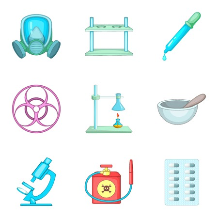 Scientific laboratory icons set, cartoon style.