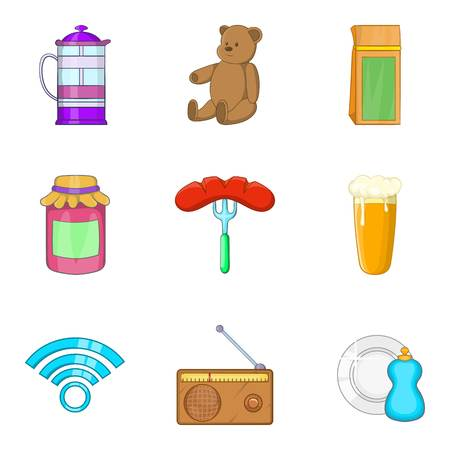 Homebody icons set, cartoon style.  イラスト・ベクター素材