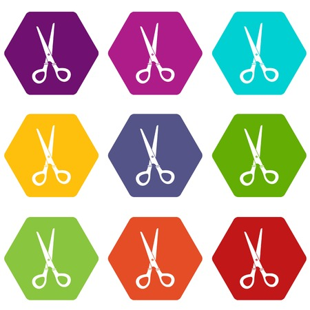 Stationery scissors icon set color hexahedron.