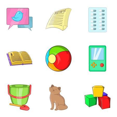 Homester icons set, cartoon style. Illustration