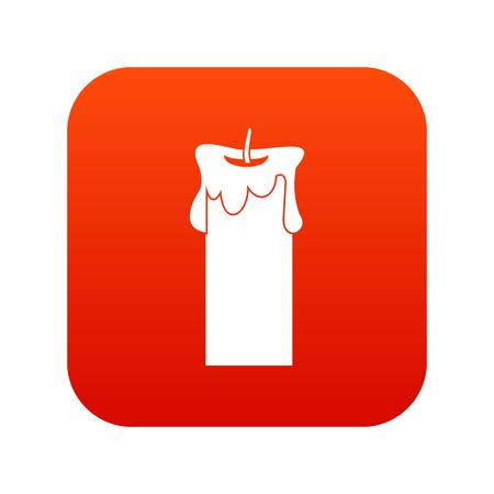 Big candle icon digital red.
