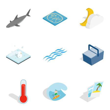 Sea Funtime icons set, isometric style. Illustration