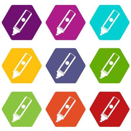 Permanent marker icon set color hexahedron