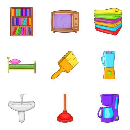 Internal stuff icons set, cartoon style
