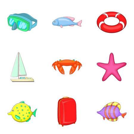 Waterside icons set, cartoon style