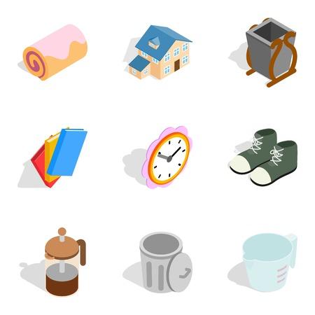 Home comfort icons set, isometric style