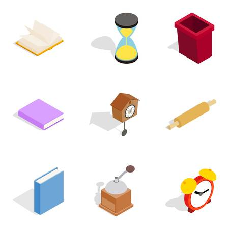 Home cosiness icons set, isometric style