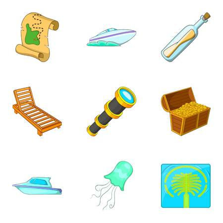Water research icons set, cartoon style