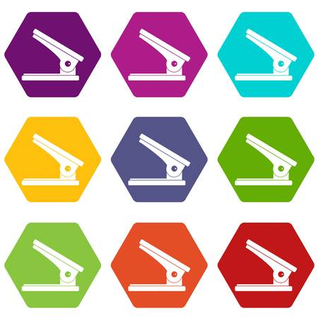 Office paper hole puncher icon set color hexahedron
