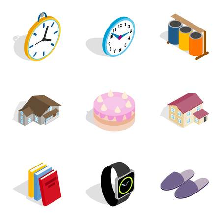 Family cottage icons set, isometric style